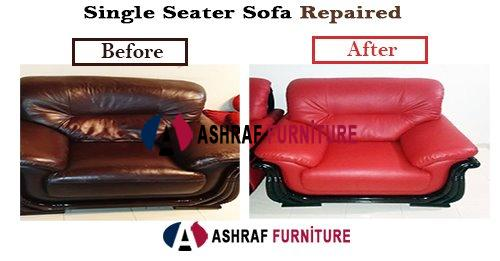 Single Seater Sofa Repaired & Artificial Leather Changed.