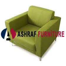 green single seater sofa
